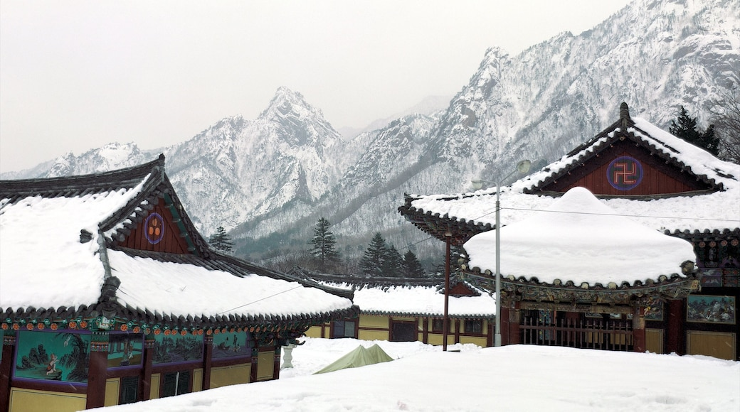 Sinheungsa Temple which includes mountains, heritage architecture and snow