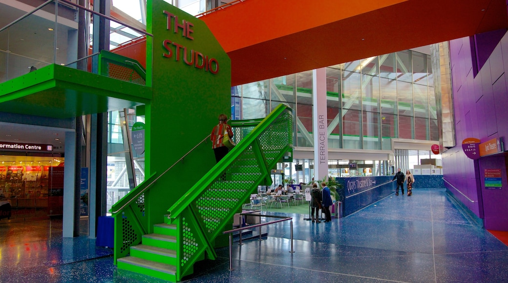 The Lowry Art and Entertainment featuring art, interior views and signage
