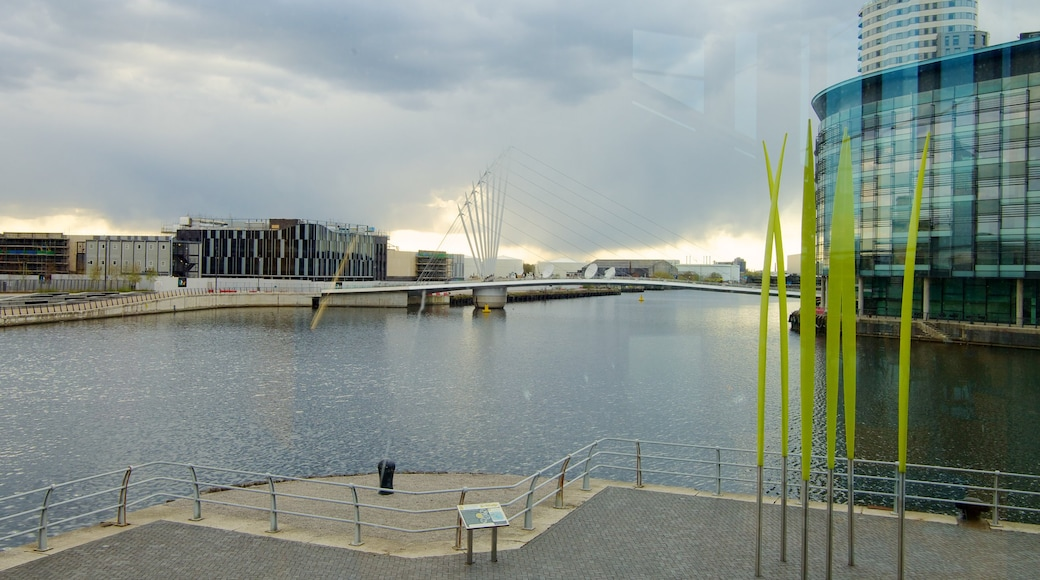 The Lowry Art and Entertainment featuring a river or creek, a city and central business district