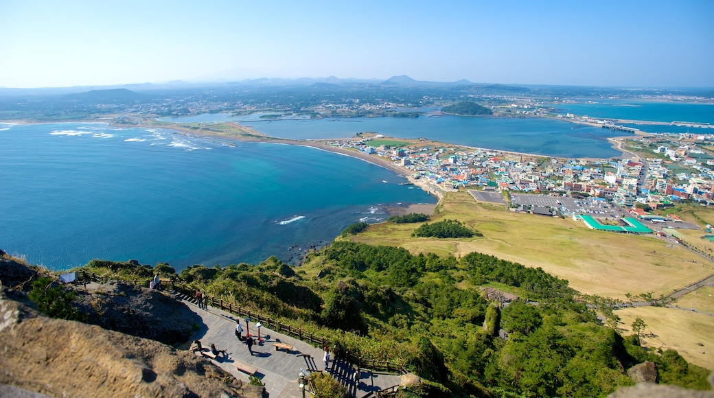 Seongsan Ilchulbong showing general coastal views, a coastal town and landscape views
