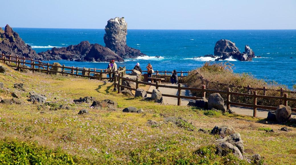 濟州島 设有 多岩石的海岸線, 海邊城市 和 山水美景