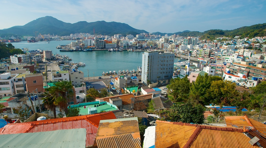 Dongpirang Village which includes a bay or harbour, a house and general coastal views