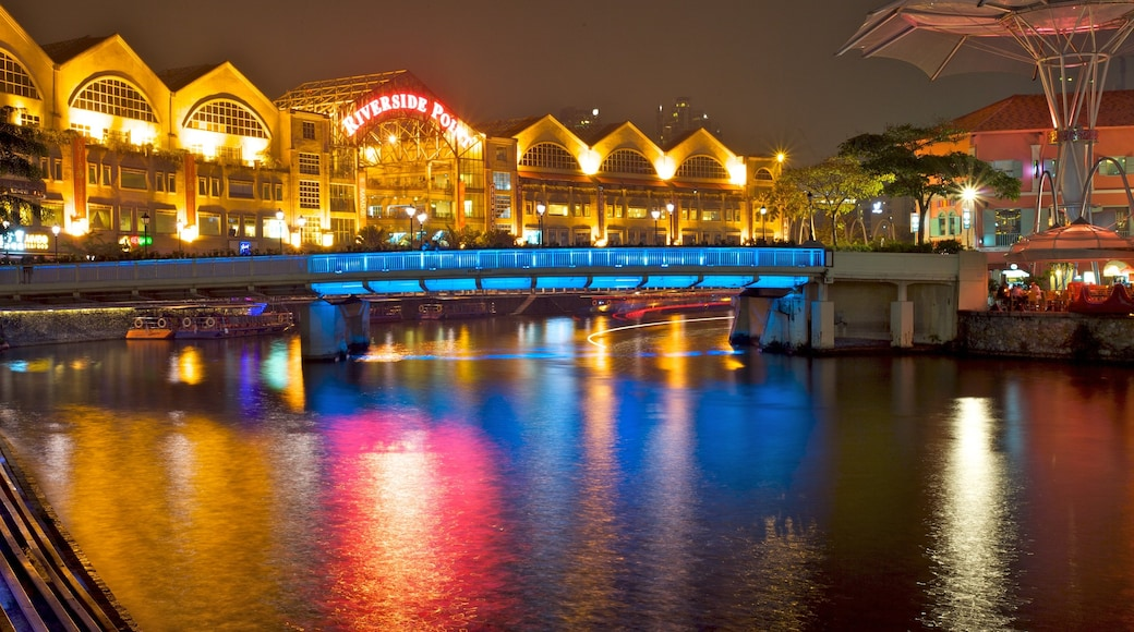 Clarke Quay which includes modern architecture, a river or creek and central business district