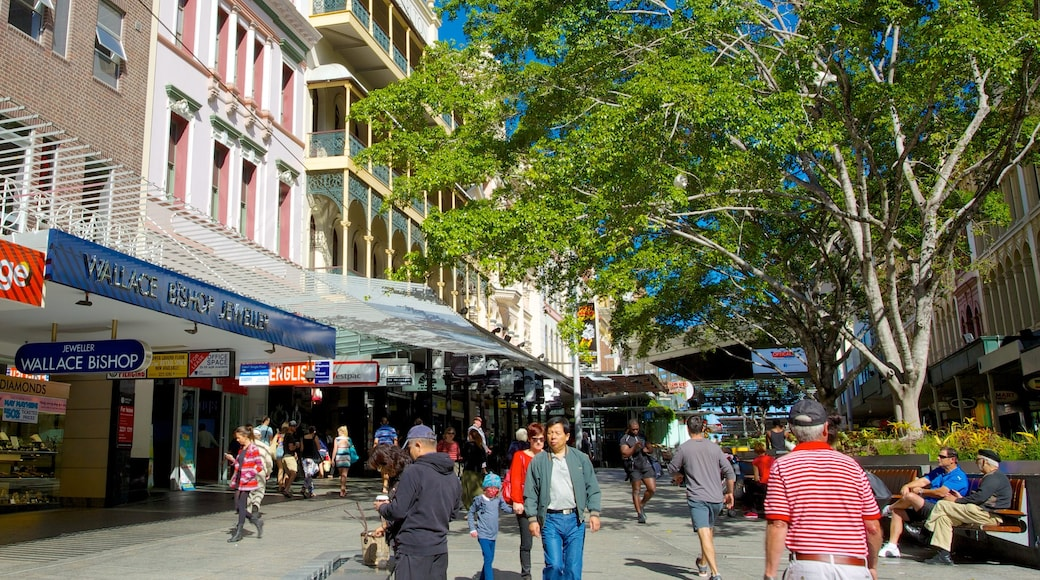 Queen Street Mall which includes a city, shopping and signage