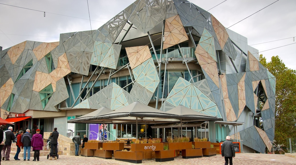 Federation Square showing a city, a square or plaza and modern architecture