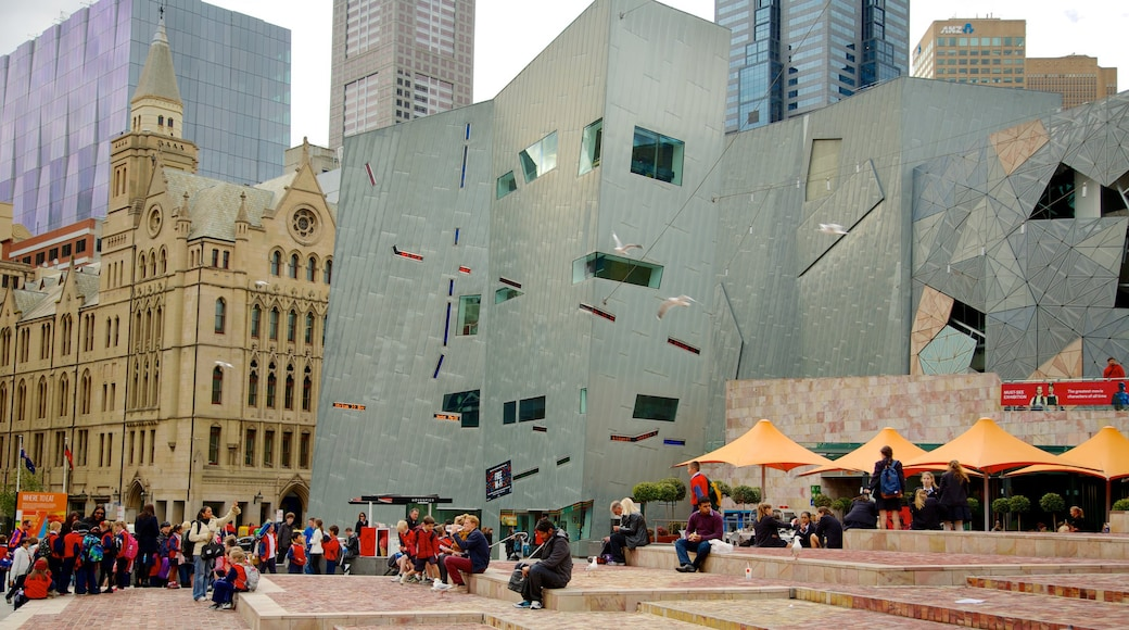 Federation Square showing a square or plaza, a city and modern architecture