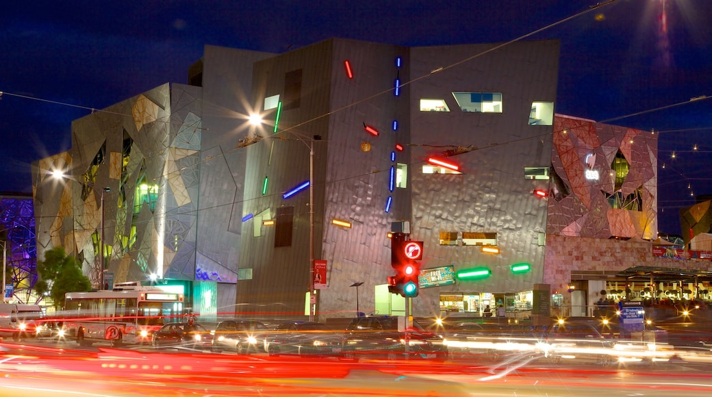 Federation Square showing nightlife, night scenes and a square or plaza