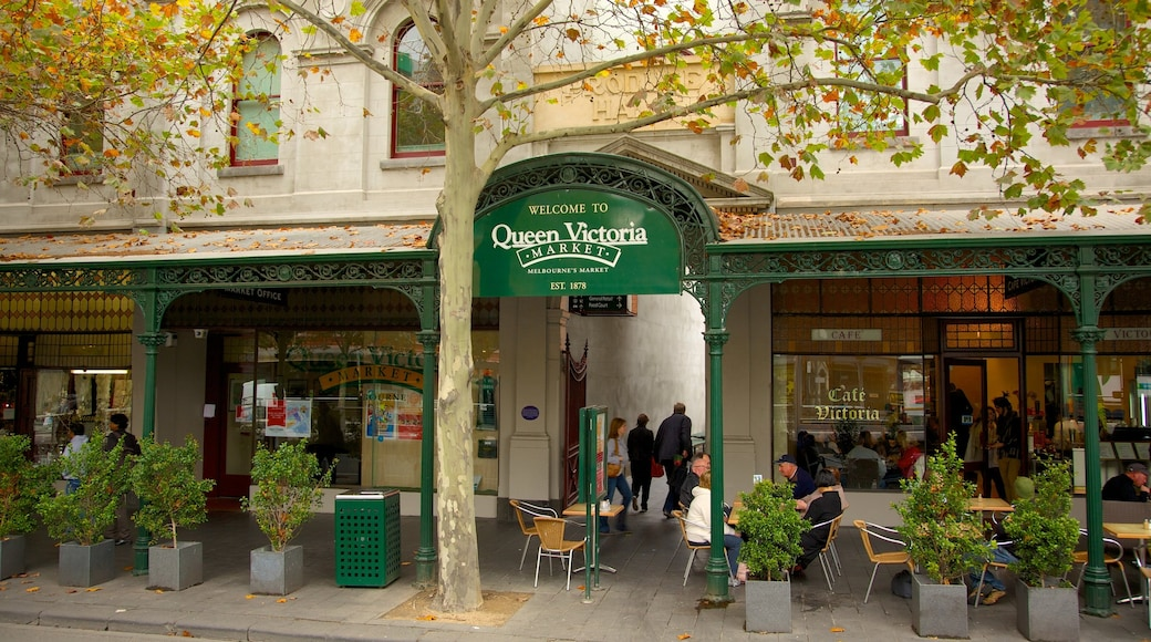 Queen Victoria Market showing signage, street scenes and markets