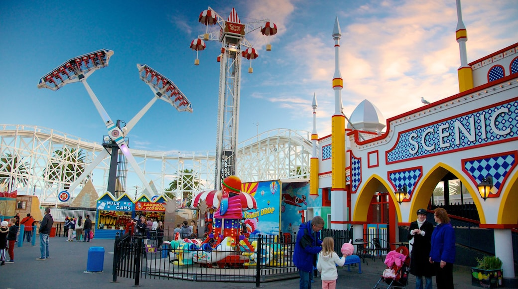 Luna Park showing rides as well as a family