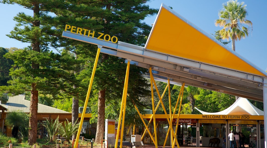 Perth Zoo which includes zoo animals and signage