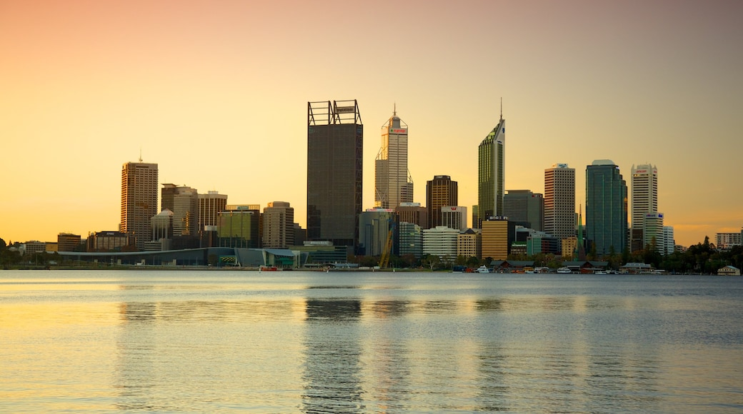 Perth showing skyline, a sunset and a city