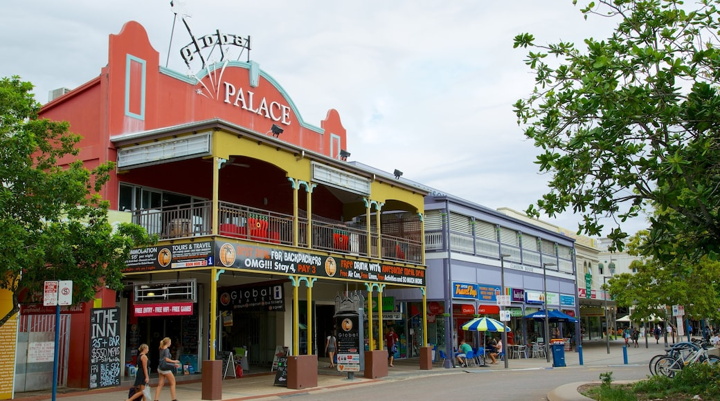 Cairns which includes street scenes and signage