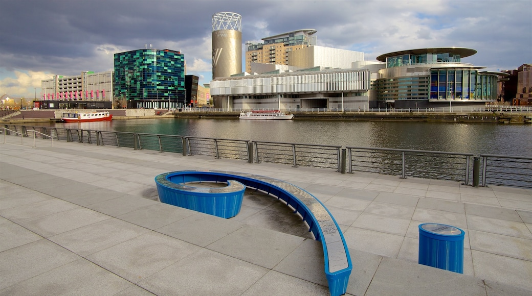 Salford Quays showing views, a river or creek and a city