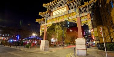 Chinatown showing night scenes, a city and street scenes