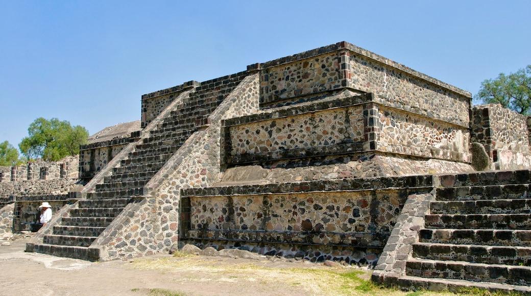Teotihuacán ofreciendo elementos del patrimonio y ruinas de edificios