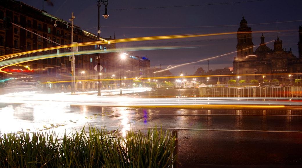 Zócalo ofreciendo una ciudad, escenas urbanas y escenas nocturnas