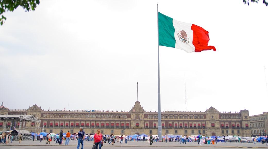 Palacio Nacional featuring heritage architecture, a square or plaza and a city