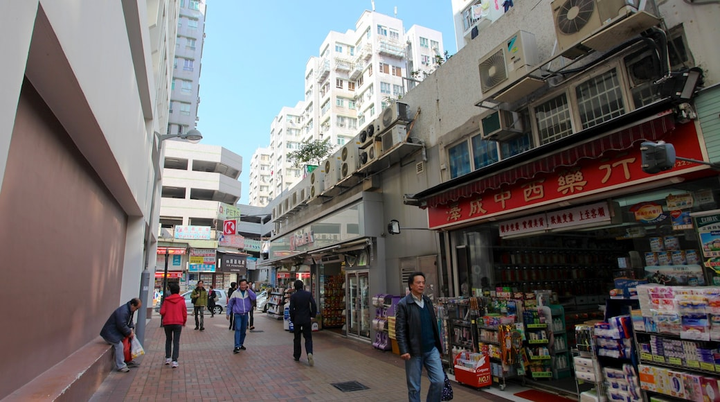 Sai Kung showing a city, markets and street scenes