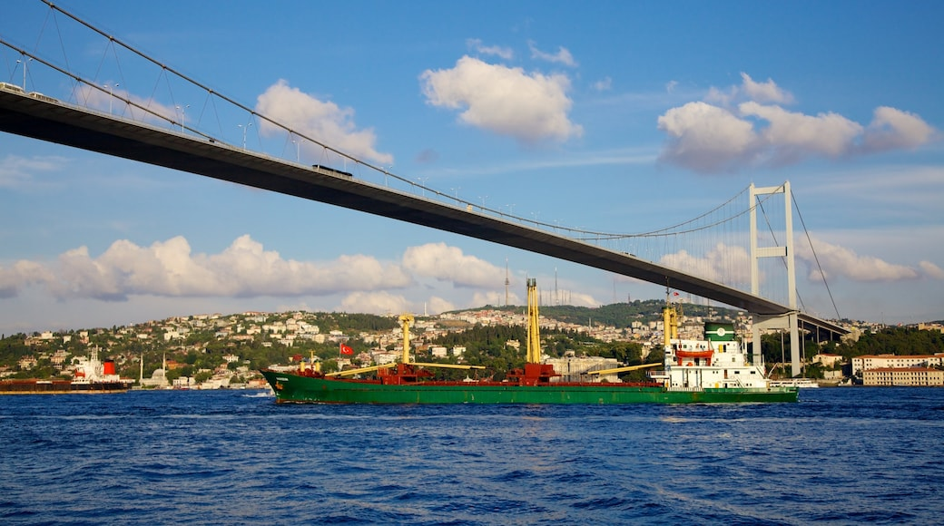 Puente del Bósforo mostrando crucero, un puente y una ciudad costera