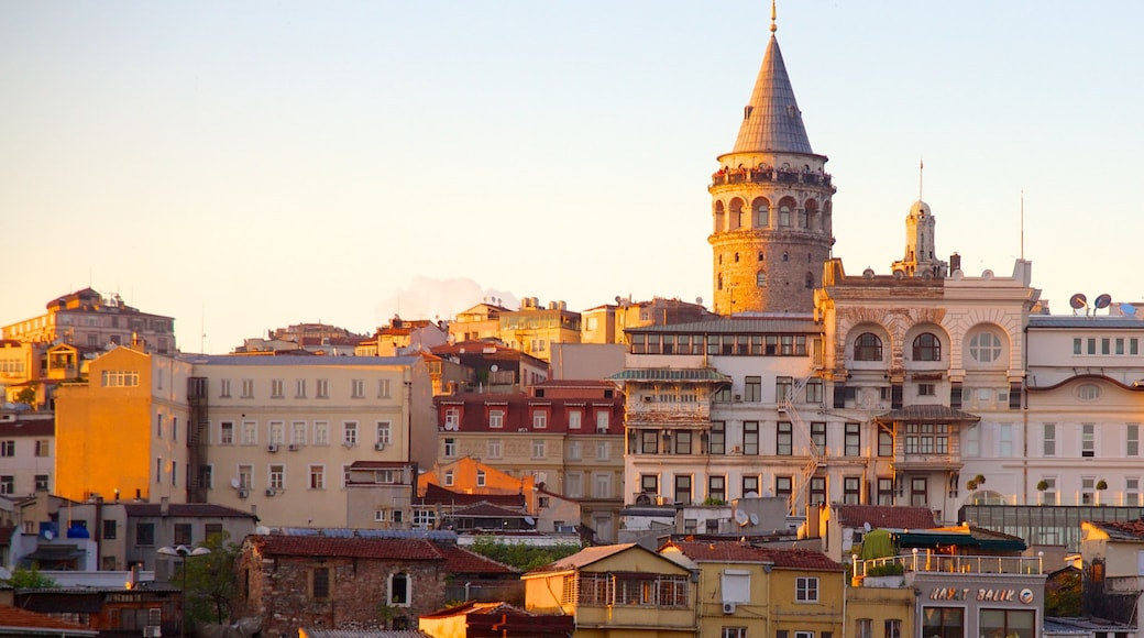 Galata Tower which includes heritage architecture and a city