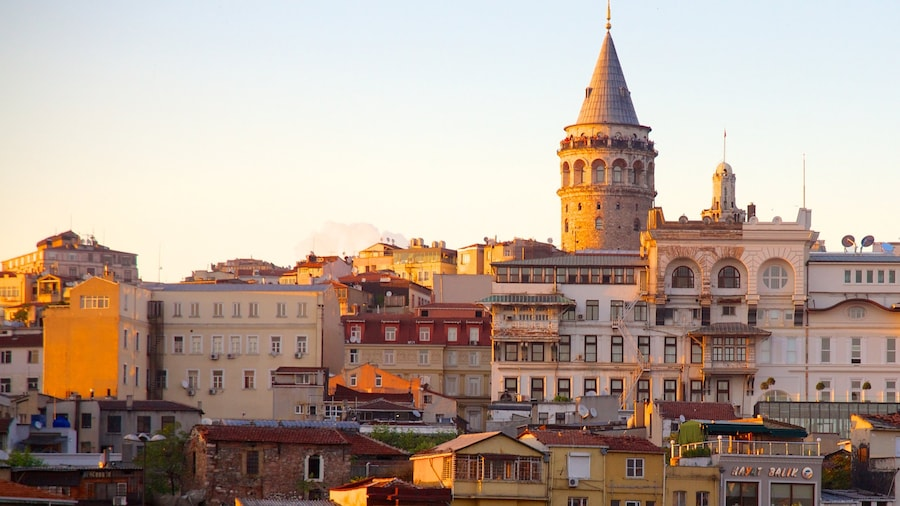Galata Tower which includes a city and heritage architecture