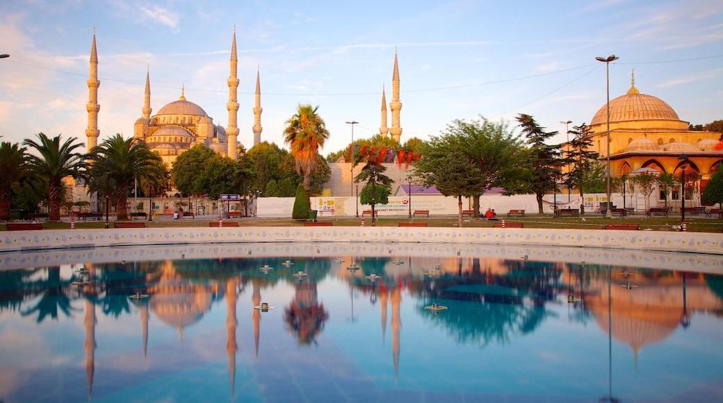 Mesquita Azul mostrando um lago, uma mesquita e arquitetura de patrimônio