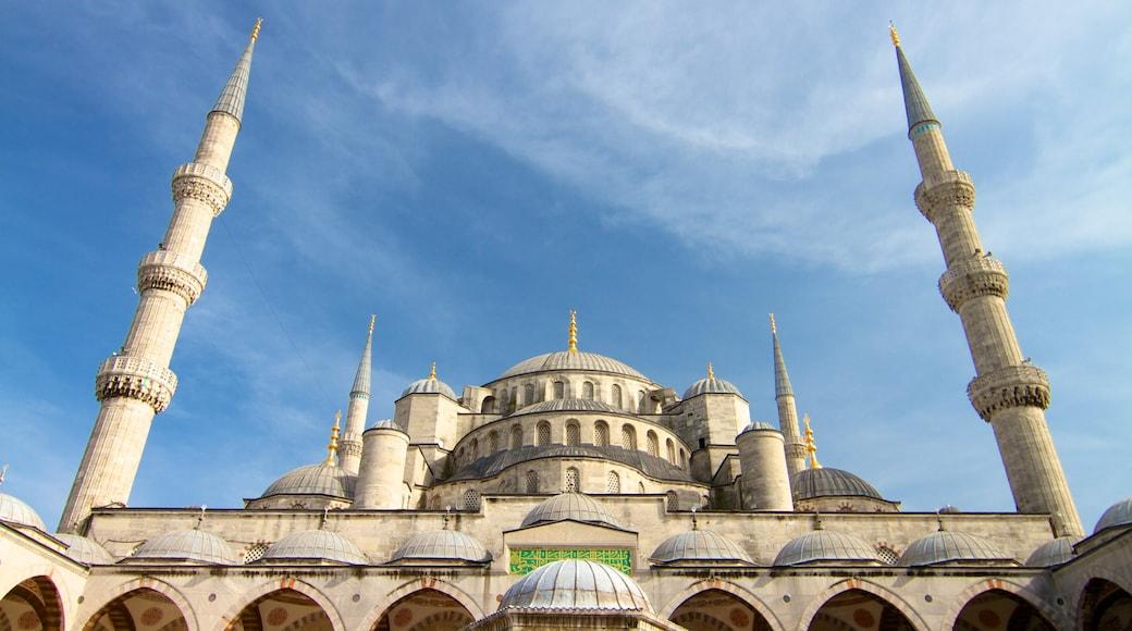 Mesquita Azul mostrando arquitetura de patrimônio, aspectos religiosos e uma mesquita