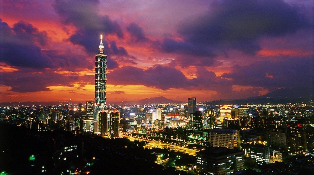 台北 101 设有 城市, 夕陽 和 天際線