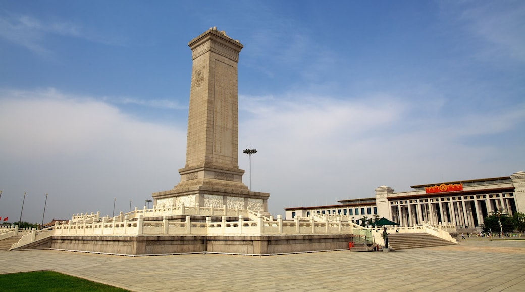 Tiananmen Square featuring a monument and a square or plaza