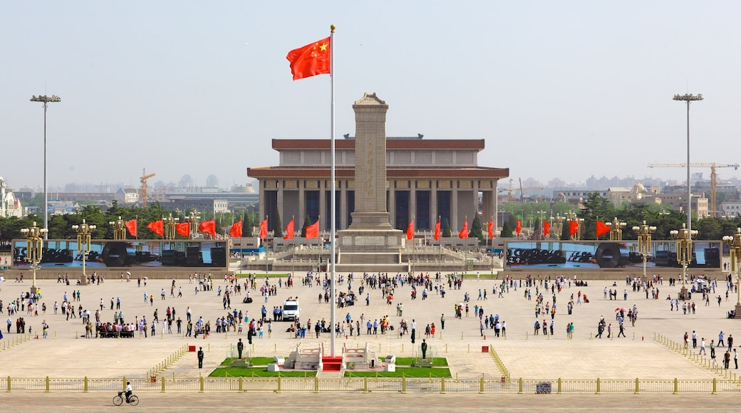 Tiananmen Square showing a monument, a city and a square or plaza