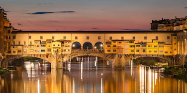 Arcetri which includes a river or creek, a sunset and a bridge