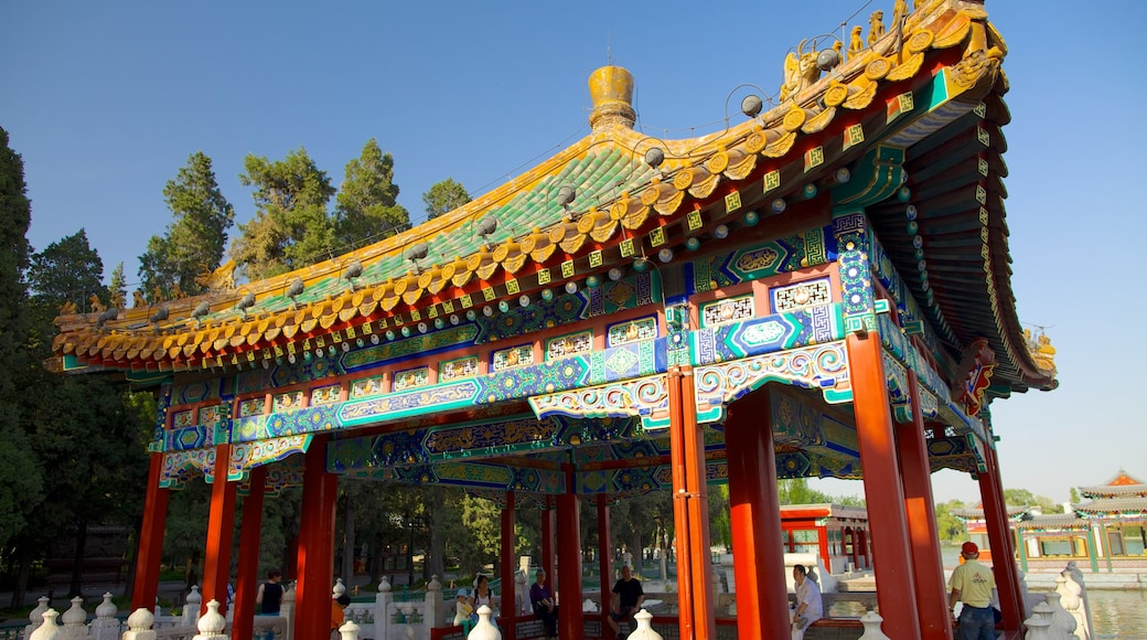 Beihai Park featuring a temple or place of worship and heritage architecture
