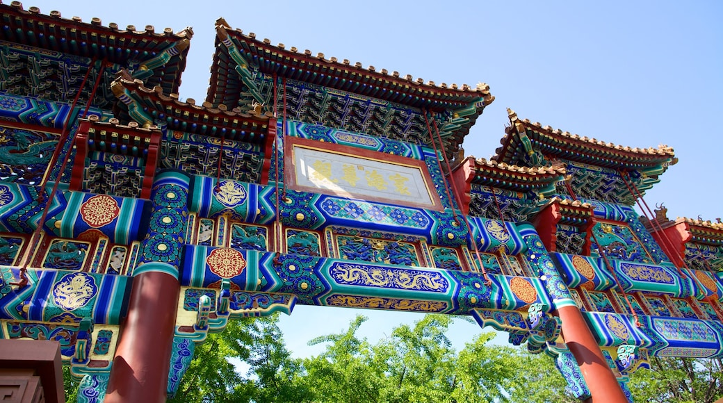 Lama Temple showing religious elements, signage and outdoor art