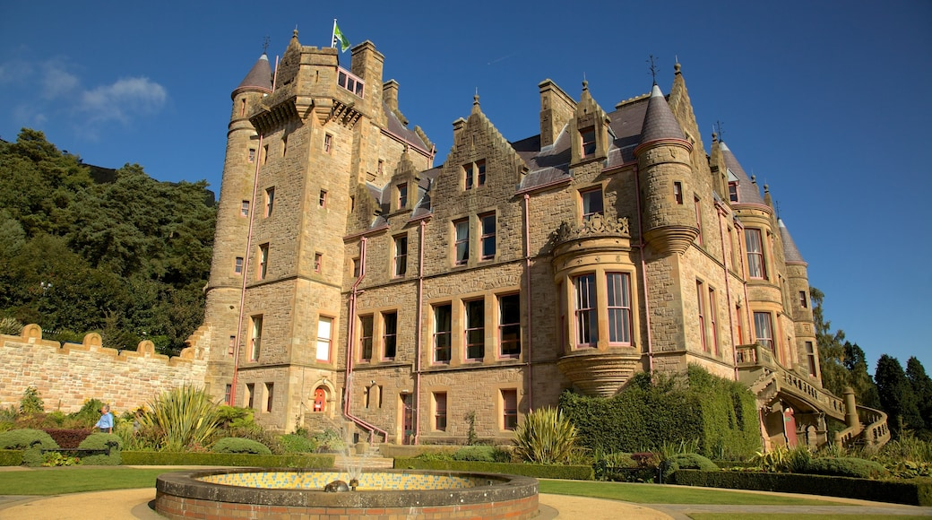 Belfast Castle which includes heritage architecture, a castle and a fountain