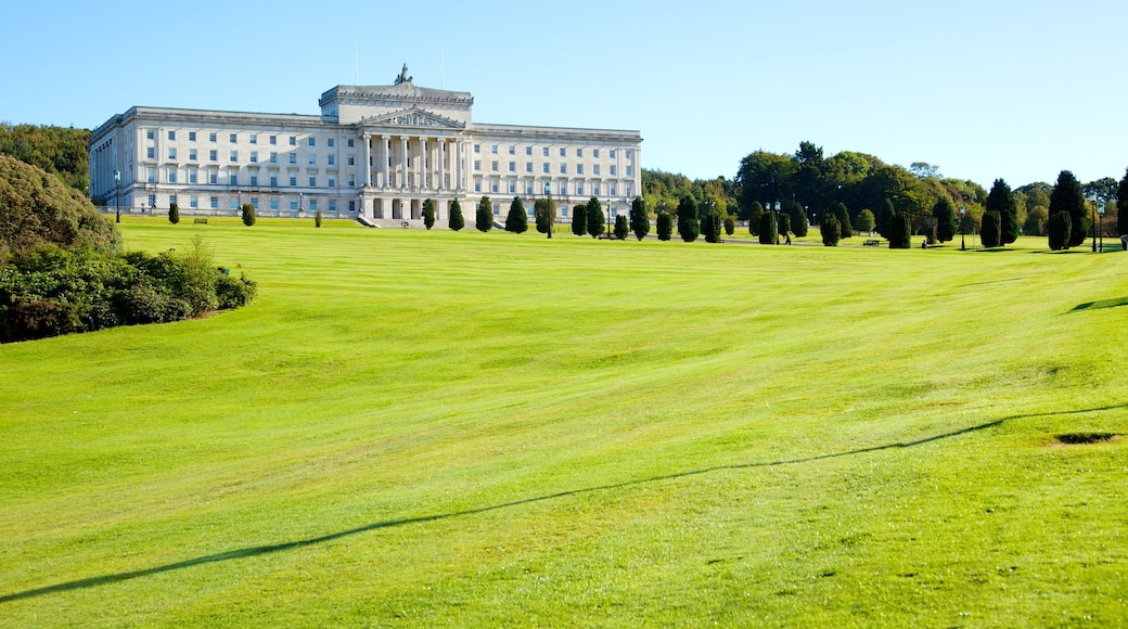 Stormont Parliament Buildings featuring an administrative building, heritage architecture and a garden
