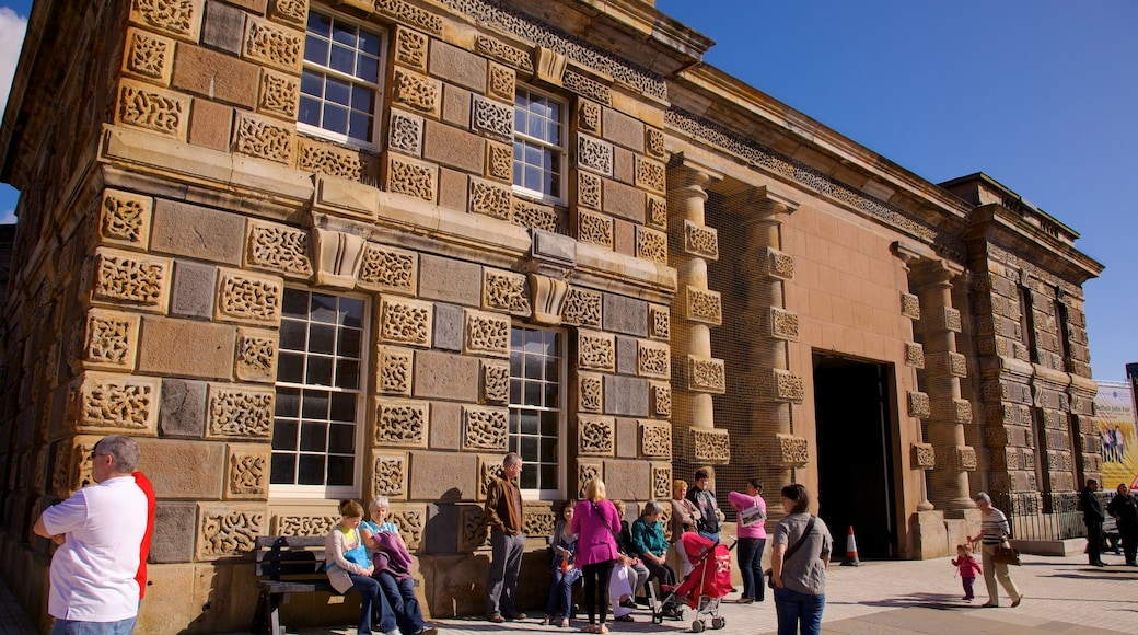 Crumlin Road Jail which includes heritage elements as well as a large group of people