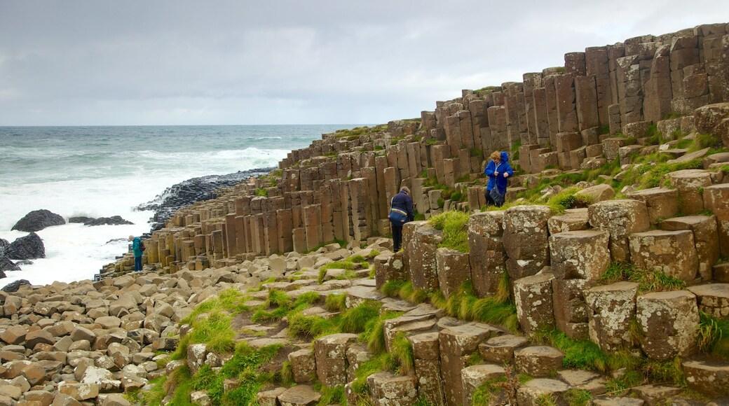 Giant\'s Causeway mostrando costa escarpada y senderismo o caminata