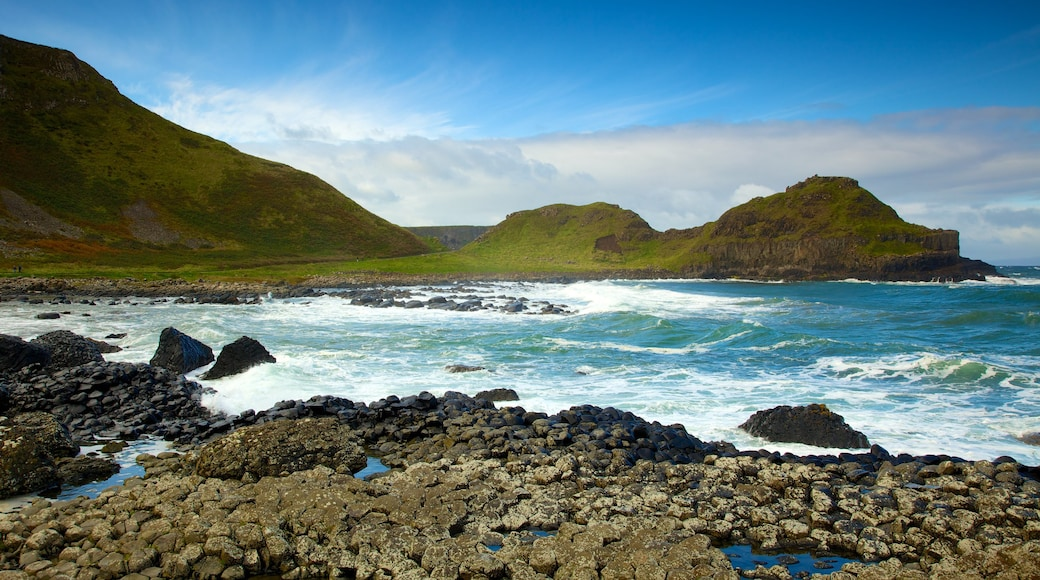 Giant\'s Causeway which includes landscape views, rugged coastline and tranquil scenes