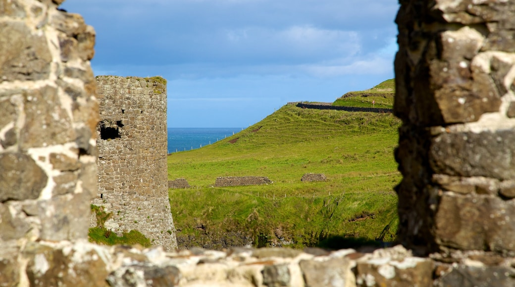 Dunluce Castle featuring tranquil scenes, views and a ruin