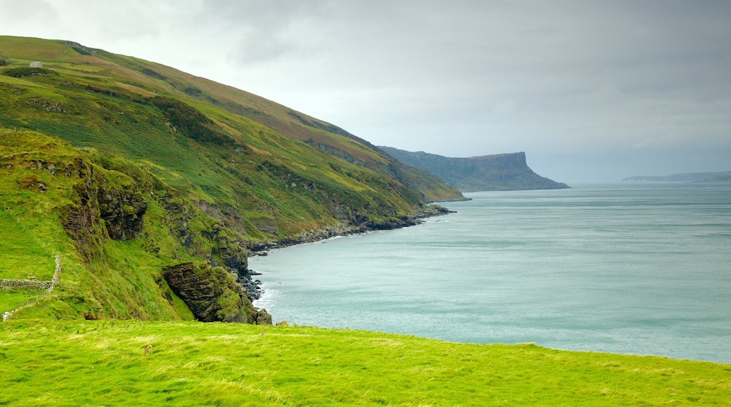Torr Head featuring landscape views, rugged coastline and tranquil scenes