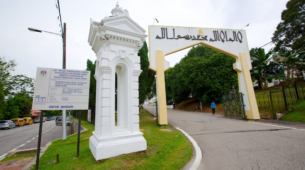 Johor Bahru featuring a mosque, religious elements and signage