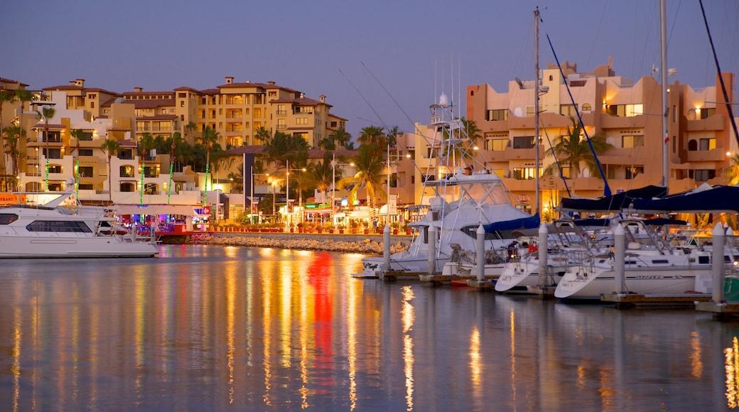 Marina Cabo San Lucas featuring a coastal town, a marina and night scenes