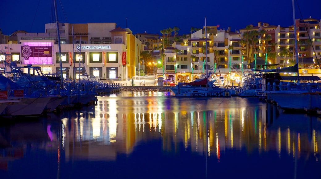 Marina Cabo San Lucas which includes a coastal town, night scenes and a marina