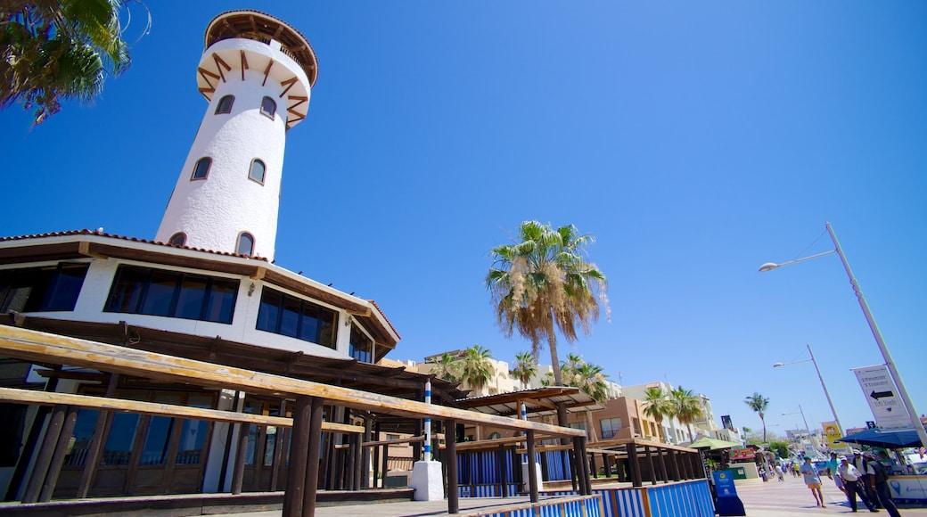 Marina Cabo San Lucas showing a coastal town and a lighthouse