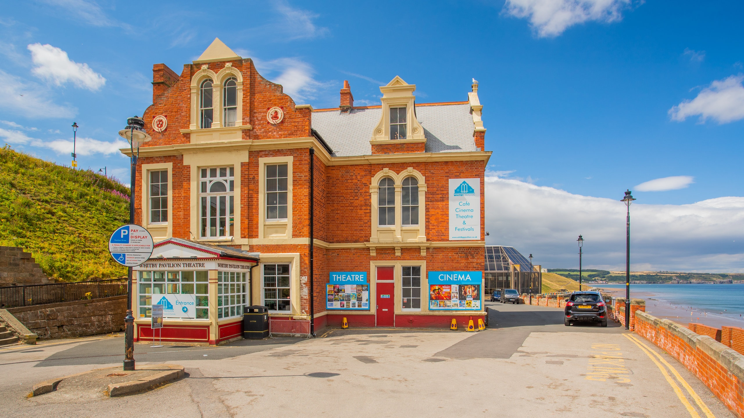 Overlooking Whitby Bay is a Victorian-era theater that hosts a range of concerts, movie screenings, plays and festivals.