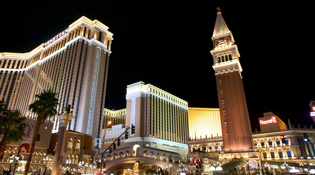 The Venetian Casino which includes a city, a hotel and night scenes