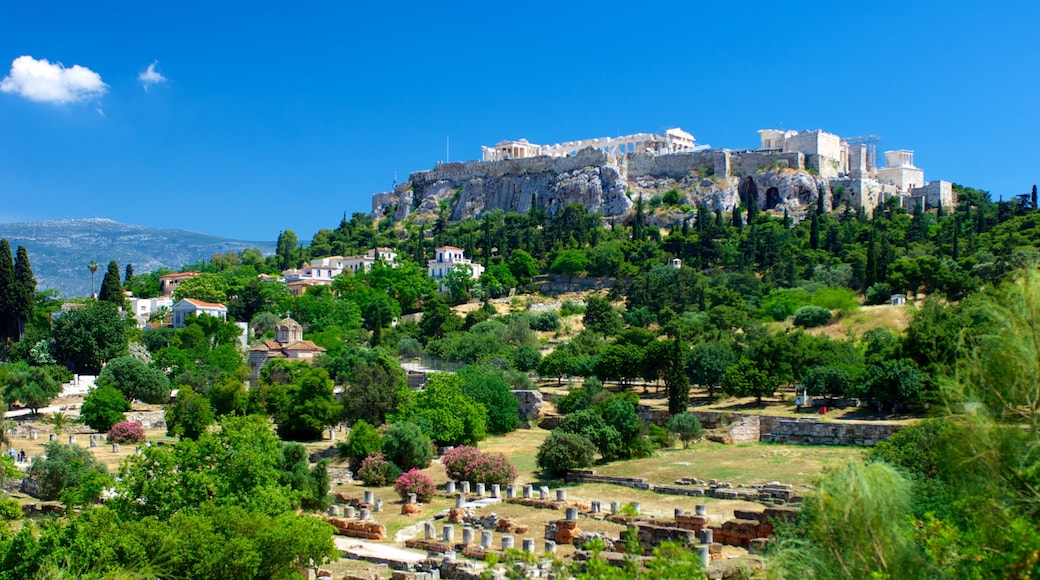 Acropolis which includes landscape views, heritage elements and a small town or village