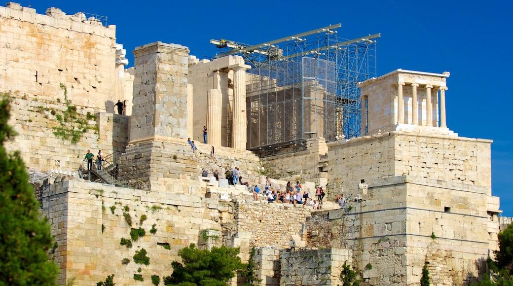 Akropolis das einen Geschichtliches, Gebäuderuinen und historische Architektur