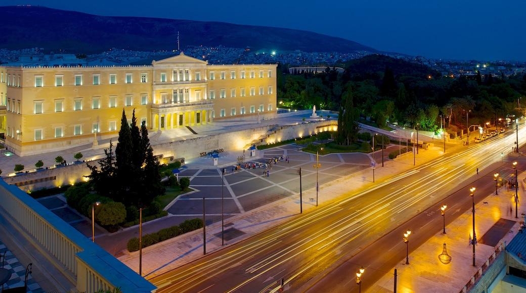 Syntagma Square which includes a city, night scenes and a square or plaza