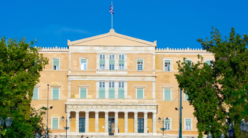 Syntagma Square showing an administrative building, a city and street scenes